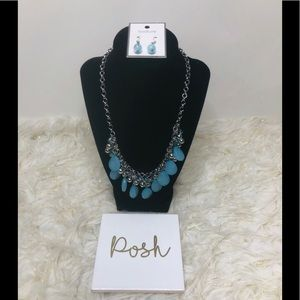 Blue Tear drop Necklace Set